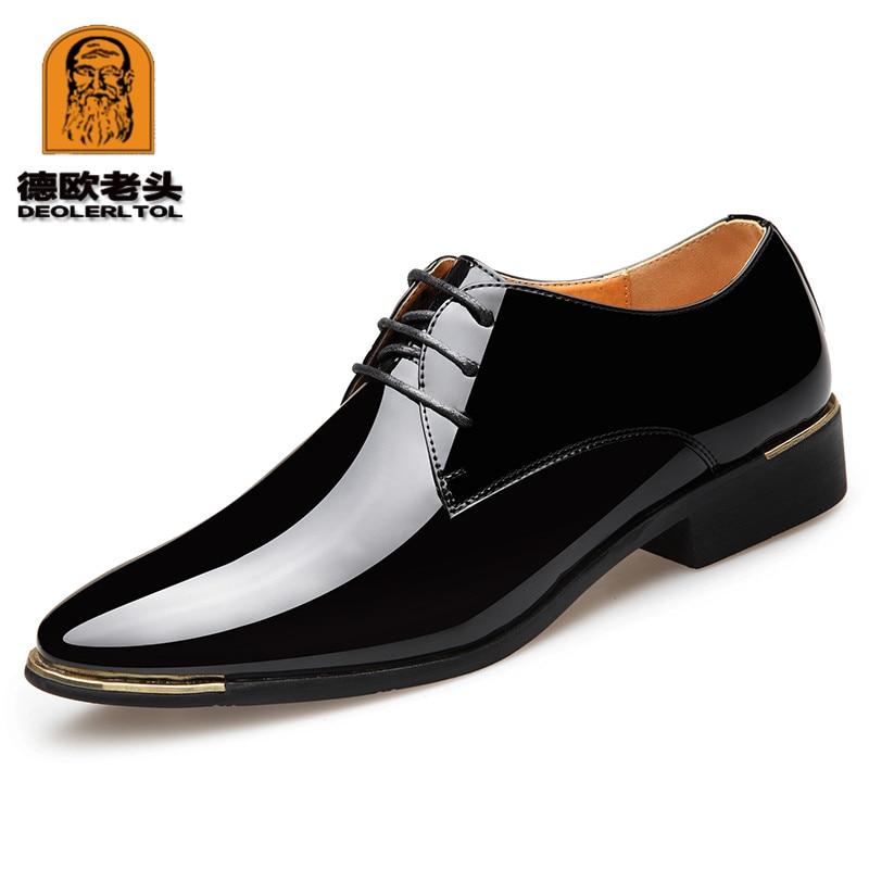 2020 حديثا الرجال جودة براءات أحذية من الجلد الأبيض أحذية الزفاف حجم 38-48 أسود جلد ناعم رجل فستان