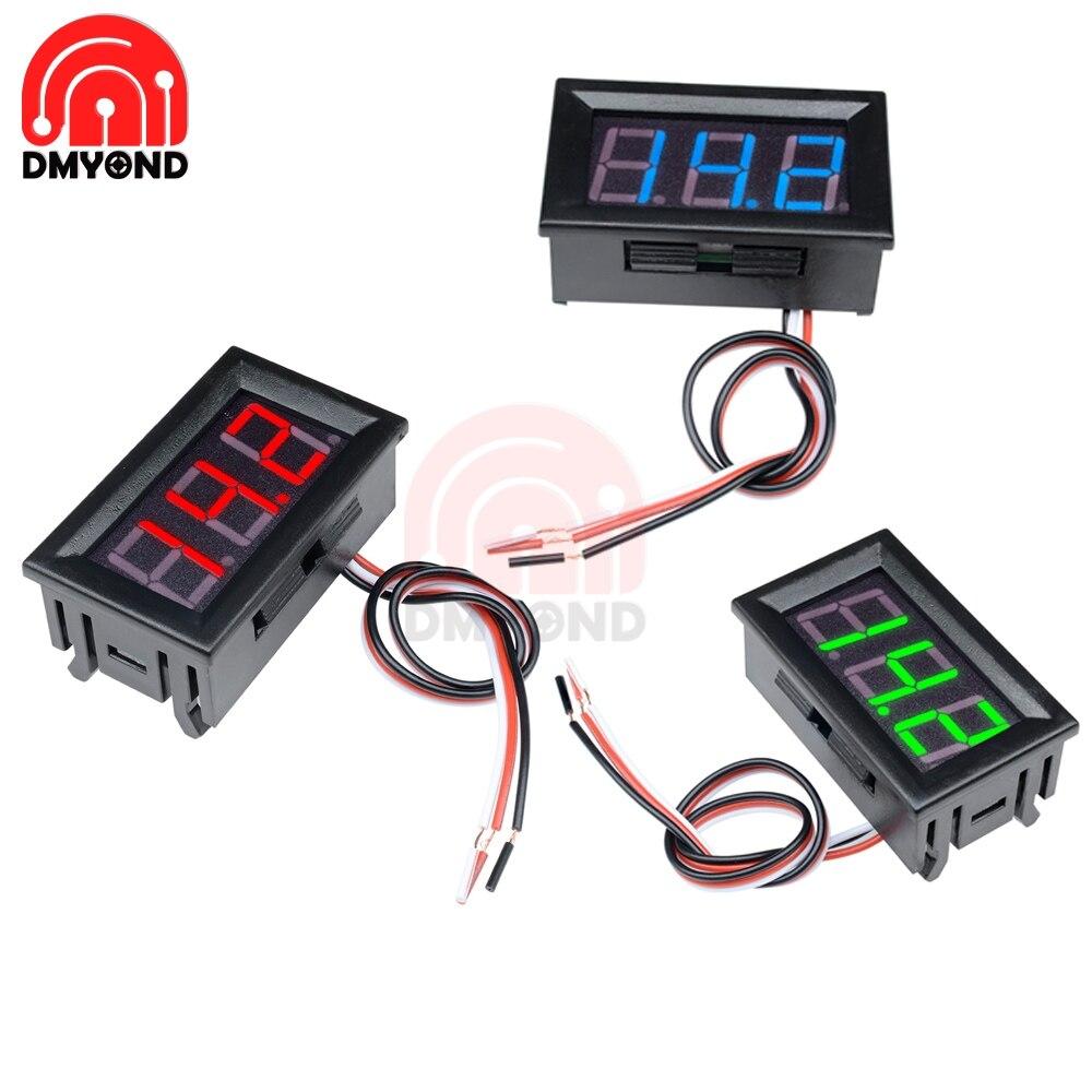 """0,56 """"DC 4,5/4,7/5 ~ 30V rojo azul verde 0,56 pulgadas panel de visualización LED voltímetro 3 cables 3 tres medidor de voltaje Digital"""