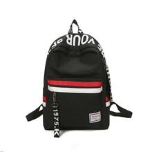 Bandes sac à dos Style Preppy noir lettre école sac à dos pour adolescentes style japonais et sud-coréen loisirs sac de voyage