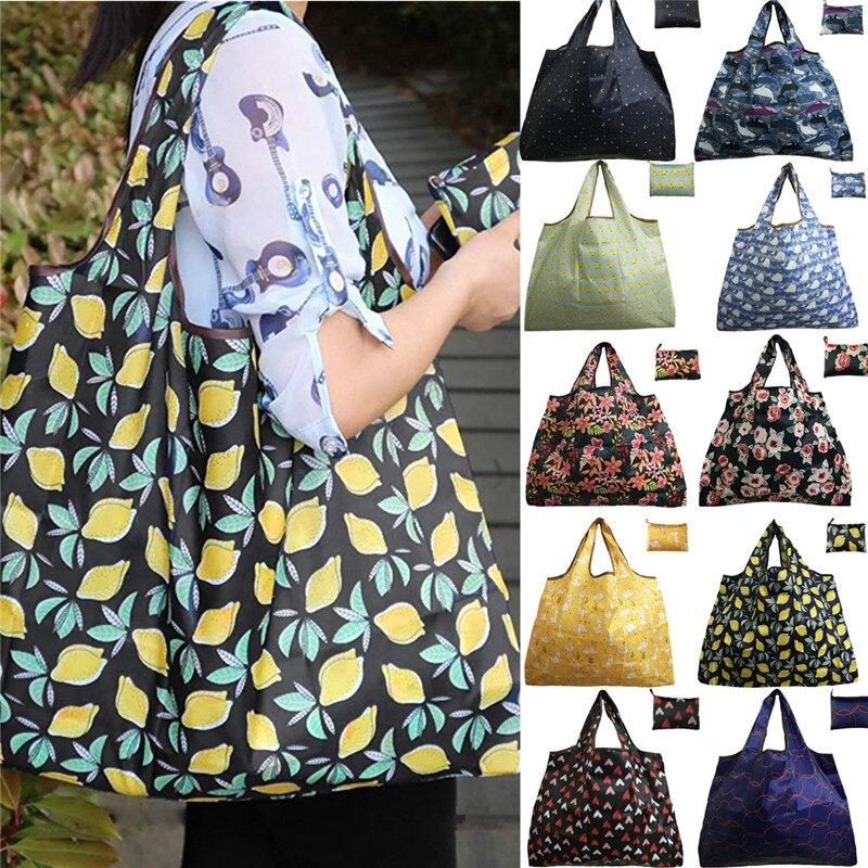 NOENNAME_NULL Eco Shopping voyage sac à bandoulière Oxford fourre-tout sac à main pliant réutilisable dessin animé KJ