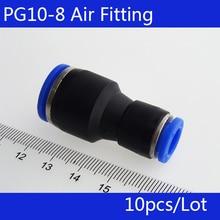 Haute qualité 10 pièces PG10-8 diamètre inégal raccord de Tube dair Union droite, une touche pousser dans les raccords pneumatiques