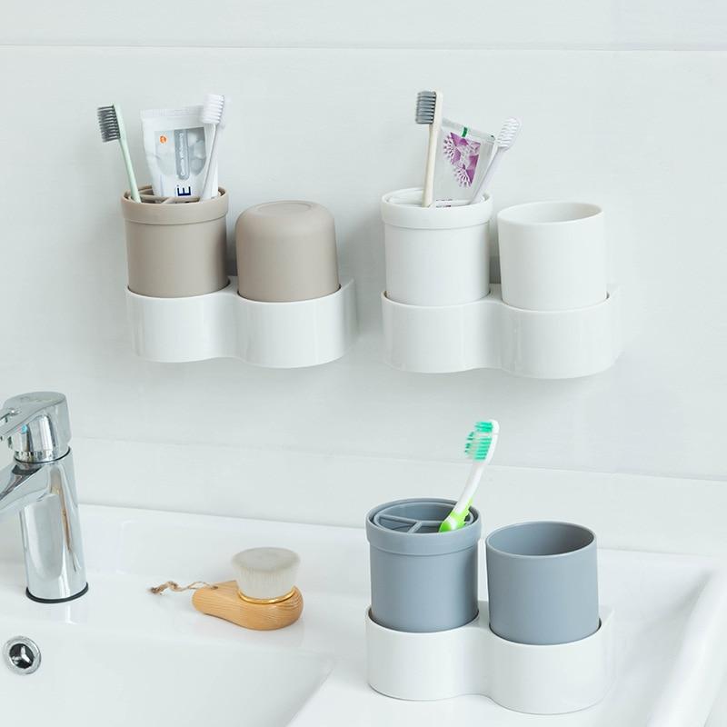 Plastikowe szczoteczki do zębów uchwyty do przechowywania półki pasta do zębów Organizer kubki ścienne drzwi gospodyni organizacja akcesoria przedmioty