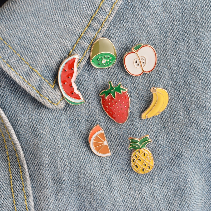 7pcs/set Banana Strawberry Watermelon Kiwi Apple Orange Pineapple Brooch Button Pin Denim Jacket Pin Badge Cartoon Fruit Jewelry