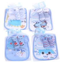 1 bag Baby Cotton Bibs Towel Socks Sets Newborn Kids Burp Cloths+Socks +Anti-scratch Gloves Boys Gir