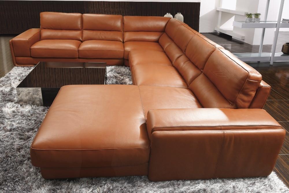 2015 عالية الجودة الجلود أريكة/غرفة المعيشة أريكة الأثاث/أريكة مجموعة U شكل كبير المنزل تستخدم حقيقية الجلود أريكة