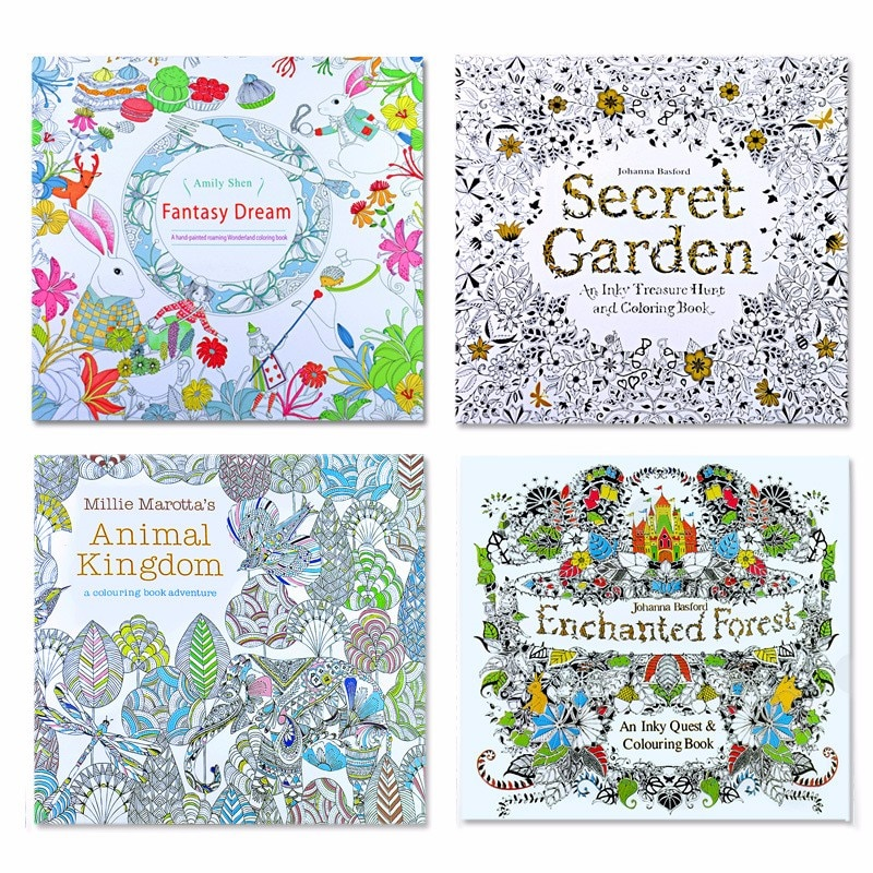 4 pcs  24 Pages Animal Kingdom English Edition Coloring Book for Children  Relieve Stress Kill Time Painting Drawing Books