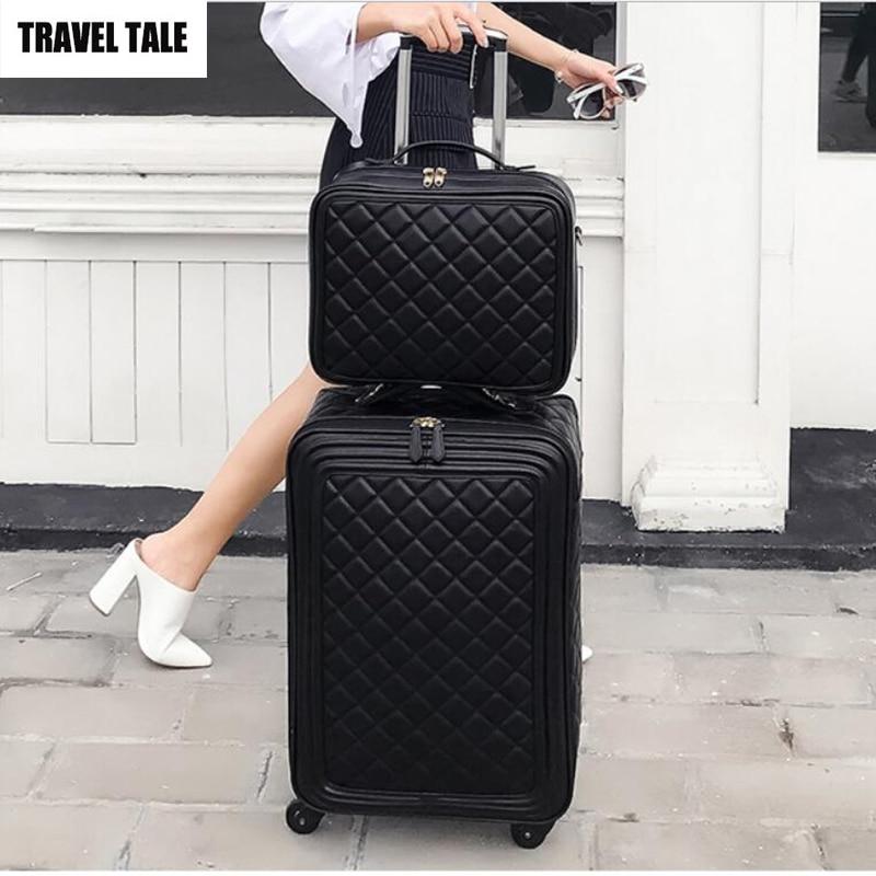 Maleta de viaje de 20 pulgadas con ruedas retro de cuero para mujer, 24 maletas de viaje, juego de maletas de mano