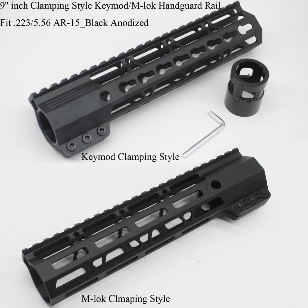 TriRock 9 inch Keymod/M-lok Clamping Style Handguard Rail Picatinny Mount System Free Float Hand Guard _ Black Anodized