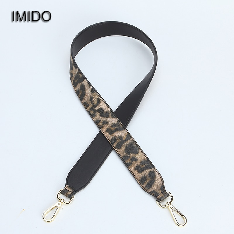 IMIDO Fashion Leopard 102cm Long bag Strap for Handbags Women pu Leather replacement straps shoulder belt accessories Red STP112 genuine leather women bag strap fashion rivet shoulder straps bag accessories real leather crossbody straps for handbags part
