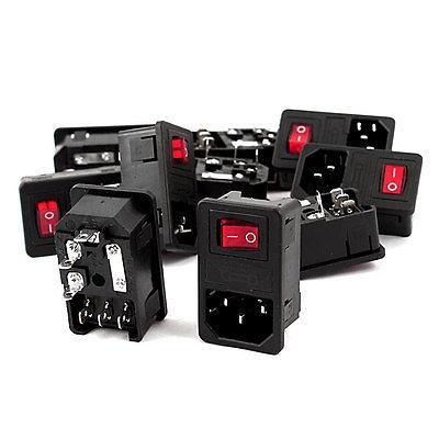 Розетка на входную панель AC250V 10A IEC 320 C14 с переключателем с красным светом 10 шт.