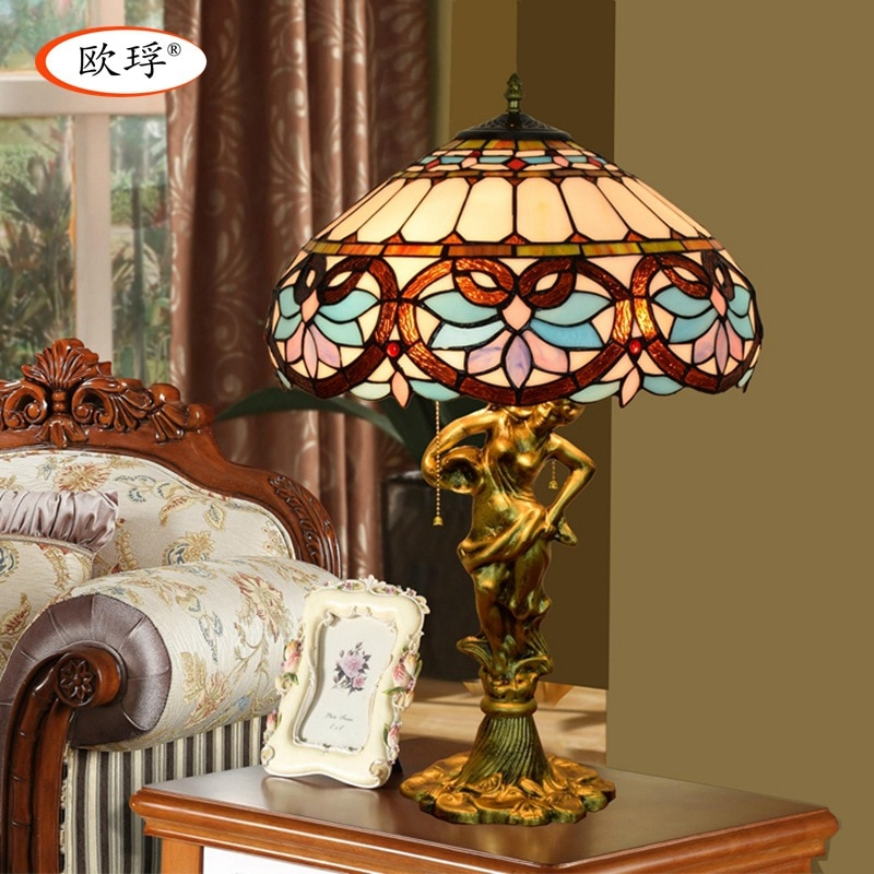 Europese stijl Tiffany kleur glas liefde Barokke tafellamp woonkamer slaapkamer nachtkastje lamp