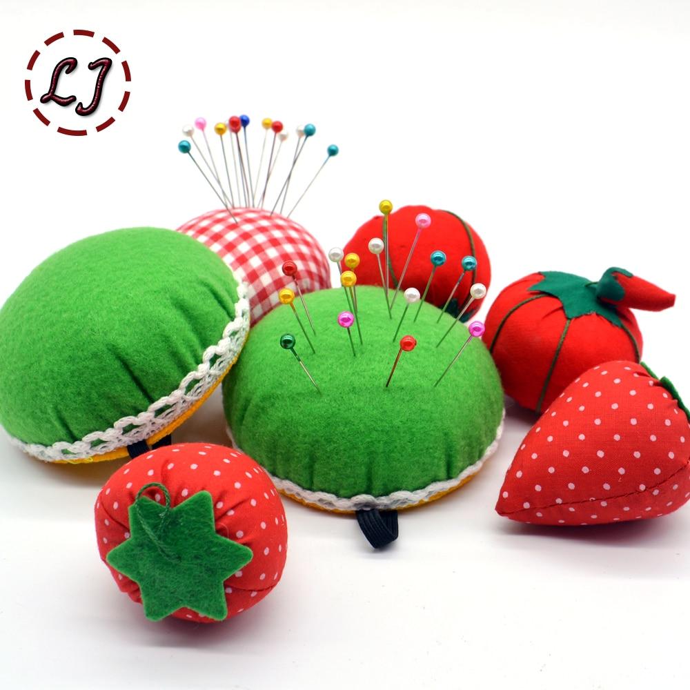 1pcs Ball tomato Shaped Needle Pin Cushion With Elastic Wrist Belt DIY Handcraft Tool for stitch sewing needlework accessory