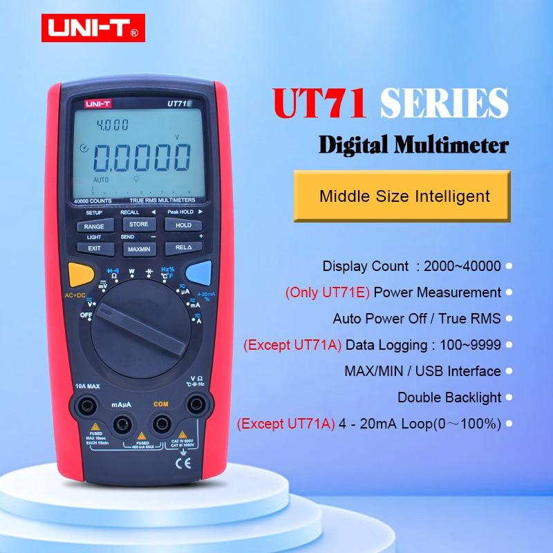 UNI-T UT71A UT71B UT71C UT71D UT71E, multímetro Digital RMS AC DC, medidor de voltios, amperios Ohm, probador de temperatura de capacitancia, retroiluminación