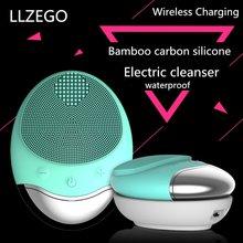 Brosse de Massage électrique chaude de nettoyage de visage de charge sans fil imperméable à leau dispositifs de nettoyage du visage de Silicone de charbon de bambou