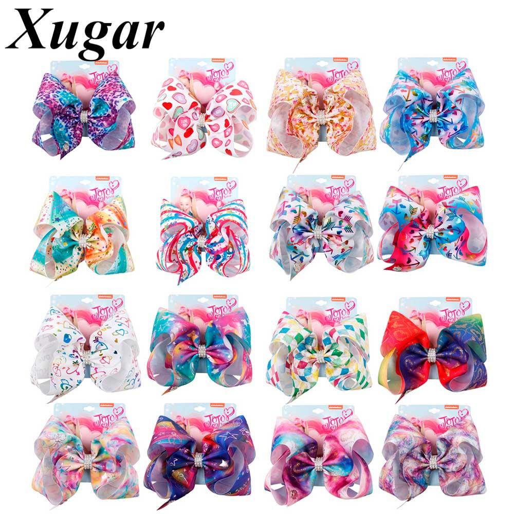 "Xugar 8"" Hair Accessories Jojo Siwa Hair Clips for Girls Rainbow Printed Ribbon Hair Bows Rhinestone JOJO BOWS Hairgrips Kids"