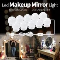 mirror light for make up led dressing room makeup lamp dimmable mirror bulb usb led 12v vanity lights bathroom 2 6 10 14 bulbs