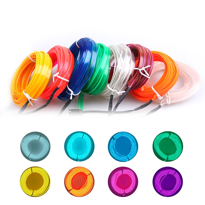 1m/2m/3m/4m/5m 12V luces LED frías flexibles de neón EL cable lámparas automáticas en tiras de luz fría de coche línea decorativa lámparas de tira LED