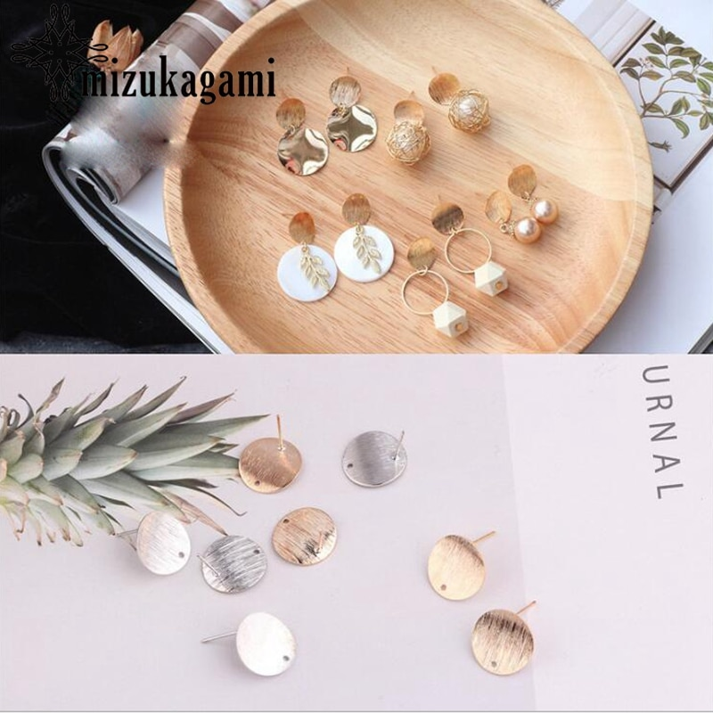 Fashionable Concave Round Ear Studs 10pcs/lot For DIY Drop Earrings Jewelry Making Accessories retro resin earrings marble texture round circle ring charms 10pcs lot for diy drop earrings jewelry making accessories