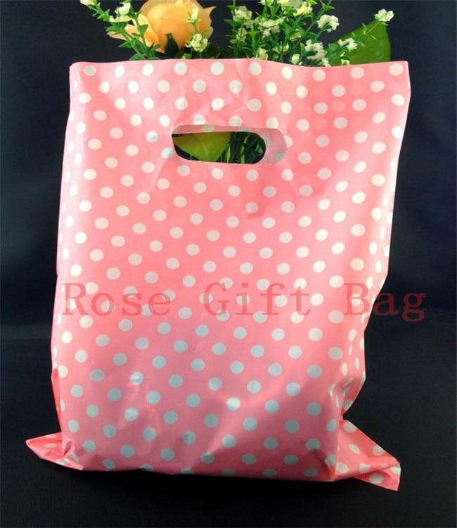 Оптовая продажа, 50 шт./пакет, белые, круглые, розовые пластиковые пакеты 25x35 см, пакеты для упаковки ювелирных изделий, пластиковые подарочны...