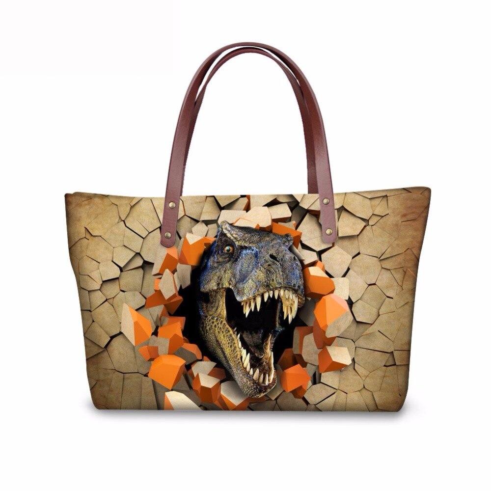 Noisydesigns bolso de mano para mujer, bolso de compras para niñas, bolsa de hombro para dinosaurio a prueba de agua, bolsa de neopreno para mujer