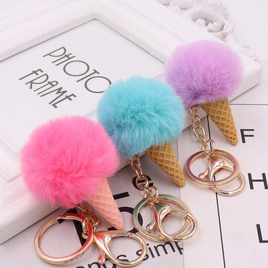 """Милый брелок для ключей """"мороженое"""", блестящий брелок с помпоном, подарки для женщин, Llaveros Mujer аксессуары для машины, сумки, брелок для ключей, аксессуары"""