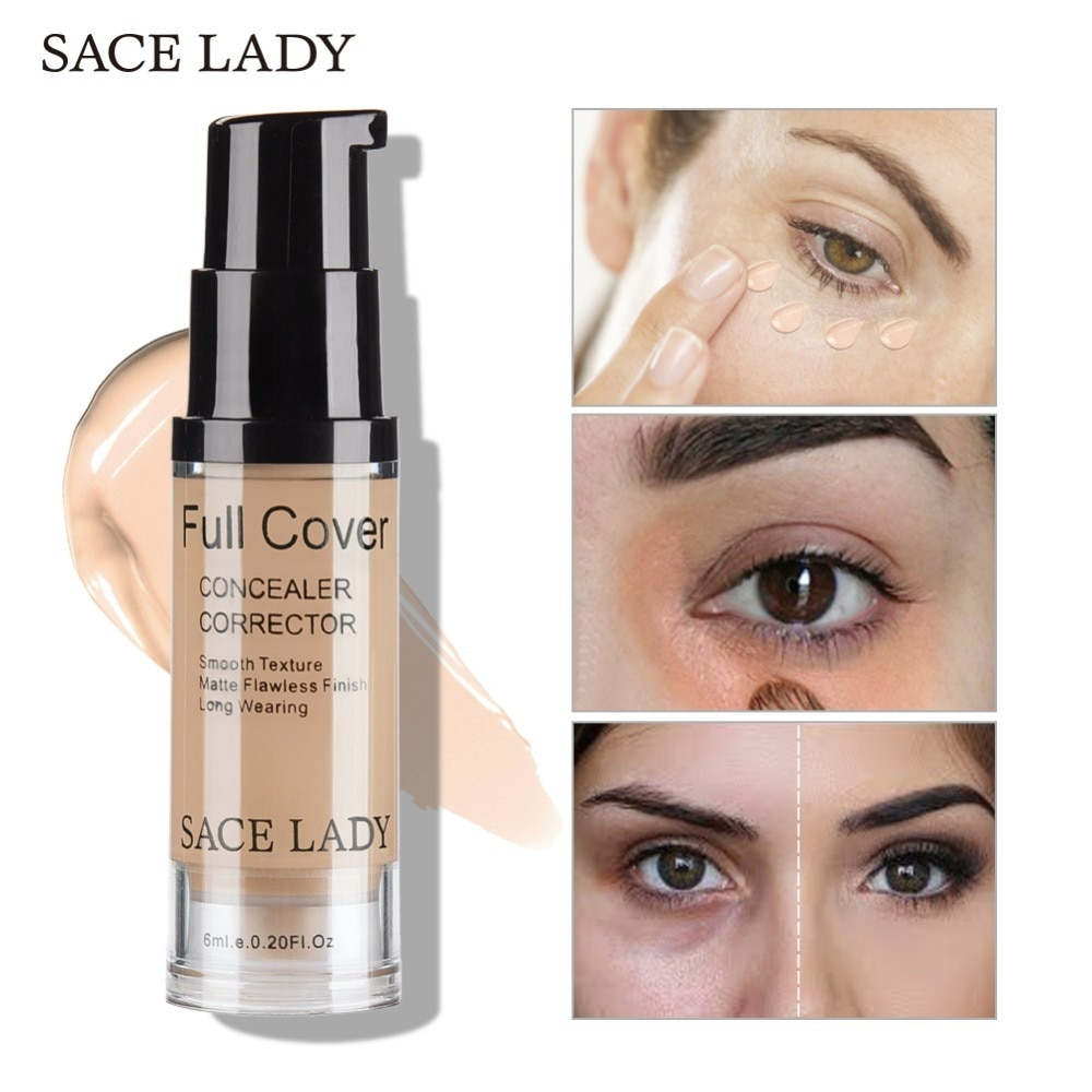 Corrector de Ojos de mujer Sace, Base de maquillaje, Base de maquillaje, 6 ml, cubierta completa para ojos, círculo oscuro, cara, líquido Corrector, crema, maquillaje cosmético