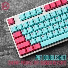 Pbt doubleshot keycaps profil cerise miami colorway pour ansi 104 clavier mécanique cyan magenta rose pour cherry 3494 3000