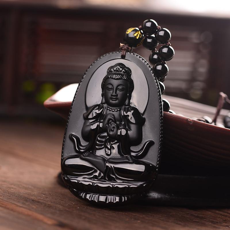 Collar con colgante de amuleto de la suerte de Buda tallado en obsidiana negra y envío directo para mujeres y hombres, joyería con collar Santo