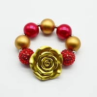 princess gold flower bracelet 2020 baby kids girls chunky bubblegum gold red bead bracelet