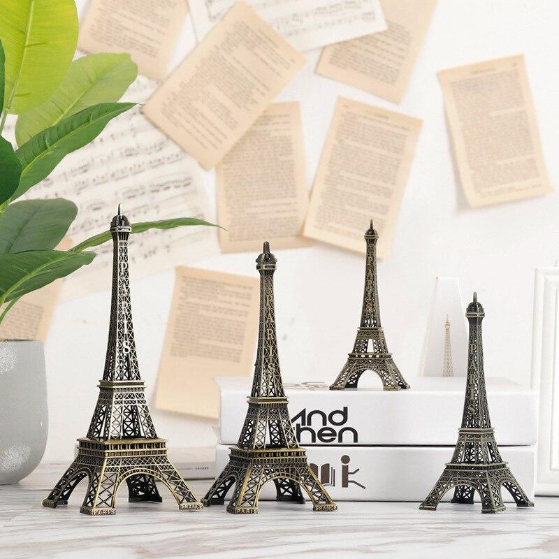 Accessoires de décoration en Miniature tour Eiffel   Pour maison, décoration rétro, pour salon, chambre à coucher, bureau, maison, rustique, métal, créatif