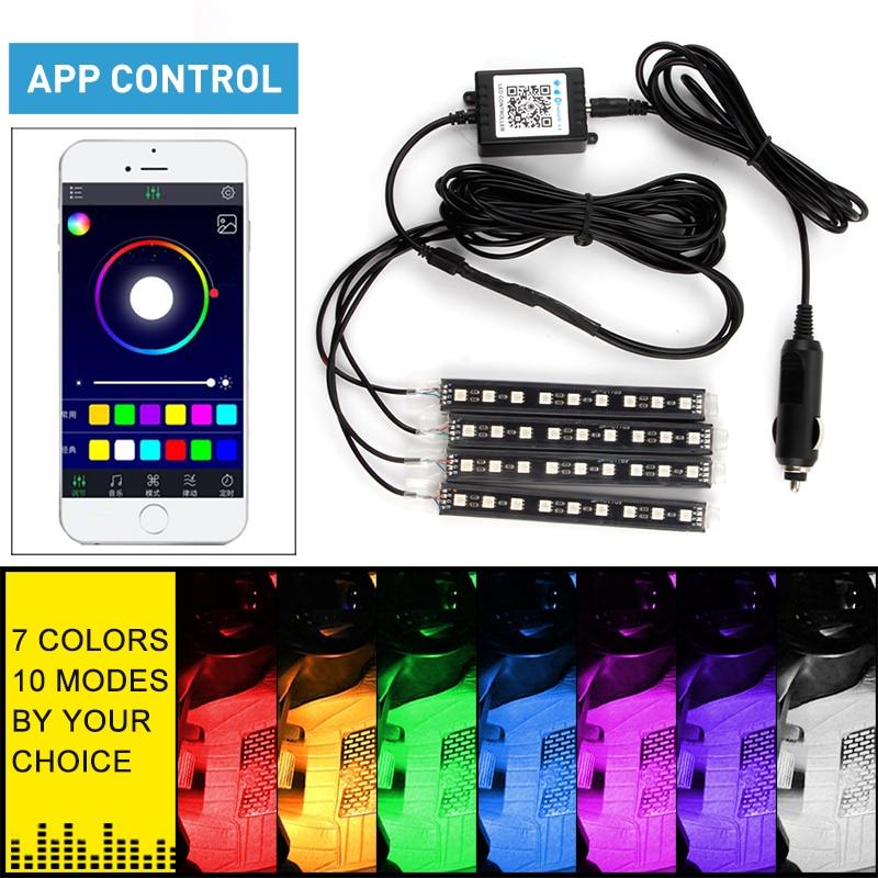 OKEEN 4 pçs/set APP controle de Música do bluetooth RGB LED luz de tira de néon atmosfera 5050 9smd LED car interior Andar de Pé decoração