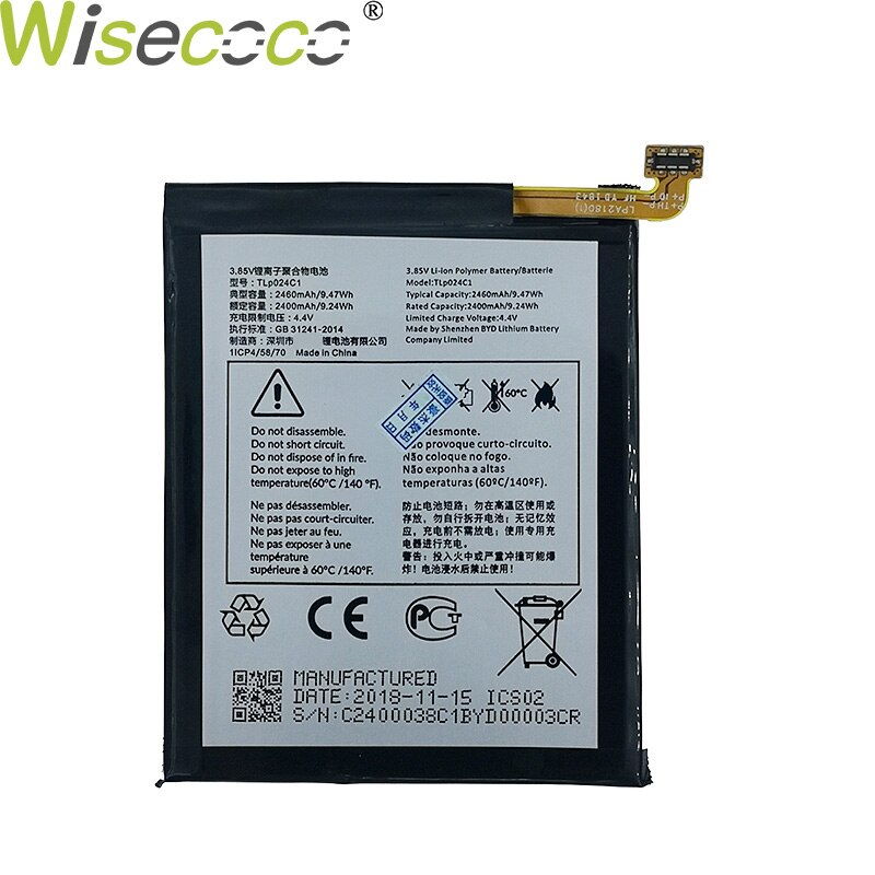 Wisecoco 2pcs New Original 2460mAh TLP024C1/TLP024CJ Battery For Alcatel A3 OT-5046/Shine Lite OT-5080X OT-5046D OT-5046Y 5046D