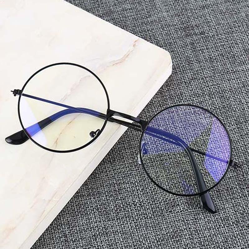 Vintage Runde Metall Rahmen Persönlichkeit College Stil Klare Linse Brillen Rahmen blau-licht augenschutz handy spiel