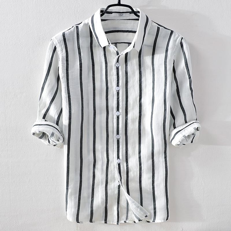 قميص كتان رجالي بياقة مطوية ، كاجوال ، مخطط ، عصري ، صيفي ، ماركة إيطالية ، مريح