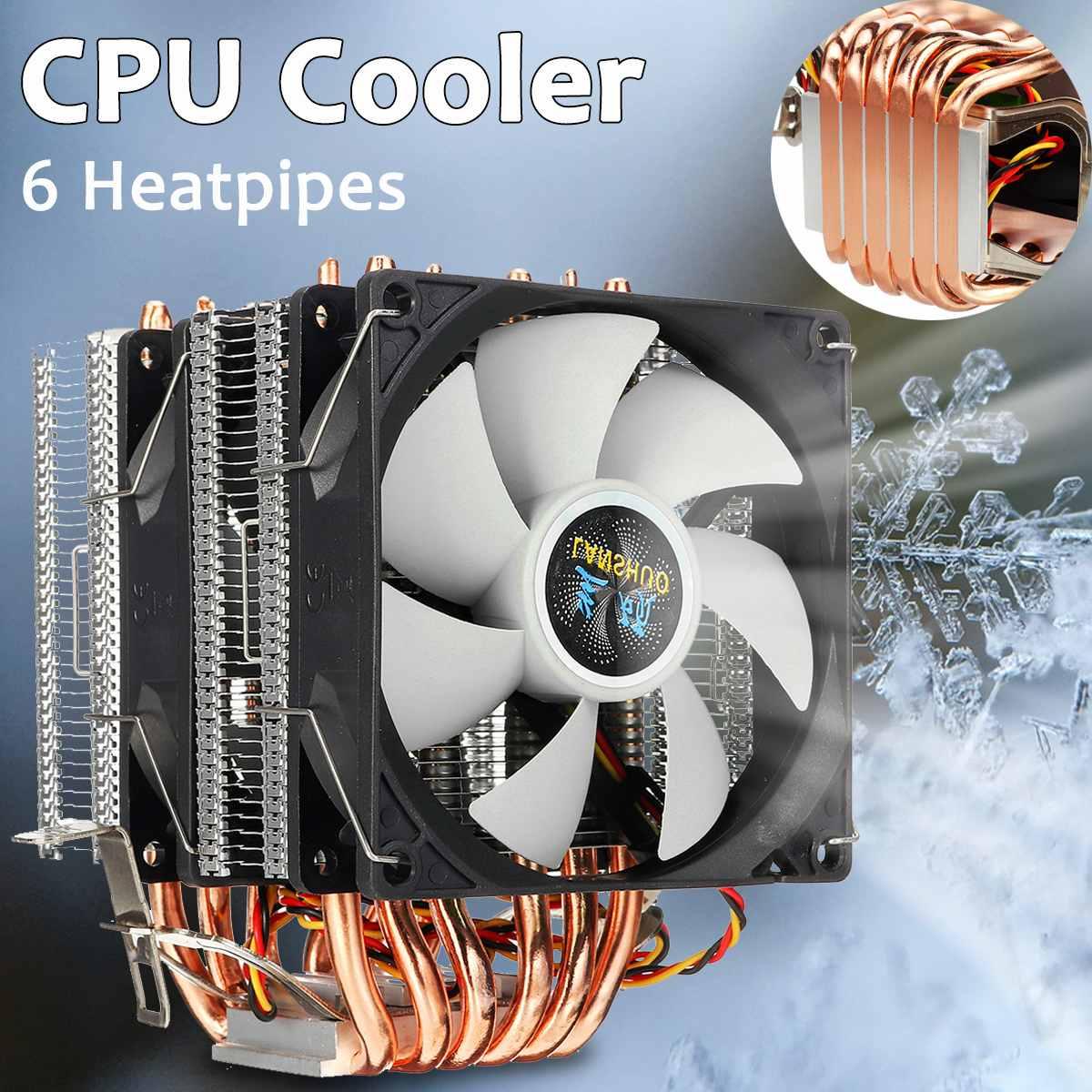 6 tubos de calor cpu cooler duplo-side ventilador refrigerador silencioso ventilador de refrigeração dissipador de calor radiador para lga 1150/1151/1155/1156/1366/775 para amd