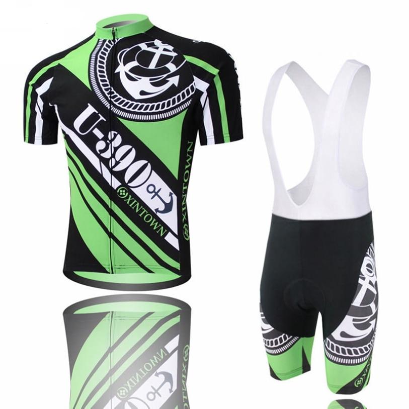 Populaire XINTOWN hommes équipe vélo maillots cuissard ensembles vert Pro cyclisme Jersey noir vêtements chemises vtt vélo haut pour homme