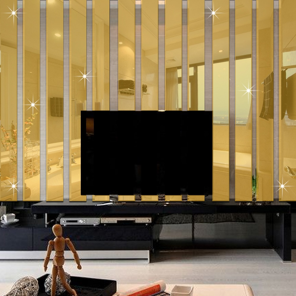 10 unids/set de pegatinas de pared rectangulares de superficie de espejo acrílico para decoración del hogar sala de estar suave a rayas TV sofá Fondo Mural de arte de pared