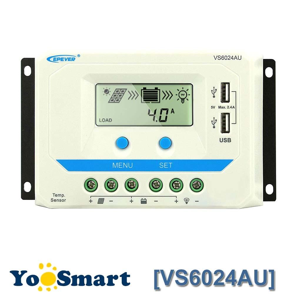 EPever 60A الشمسية جهاز التحكم في الشحن PWM 12 فولت 24 فولت تيار مستمر السيارات ضوء أسود شاشة الكريستال السائل المزدوج 5 فولت USB بطارية تهمة منظم VS6024AU