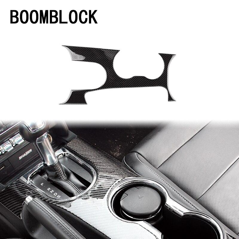 Boomblock carro cobre guarnição adesivos para ford mustang 2017 2016 2015 gt500 gt 350 interior engrenagens shift knob painel acessórios