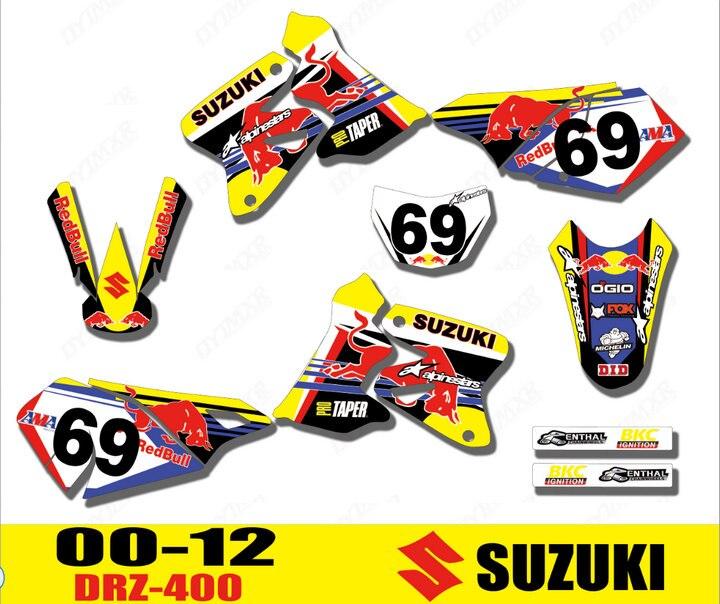 Pegatinas gráficas de equipo de motociclismo 3M, calcomanías de fondo para todo el año SUZUKI DRZ400 DRZ400S DRZ400E DRZ400SM DRZ 400