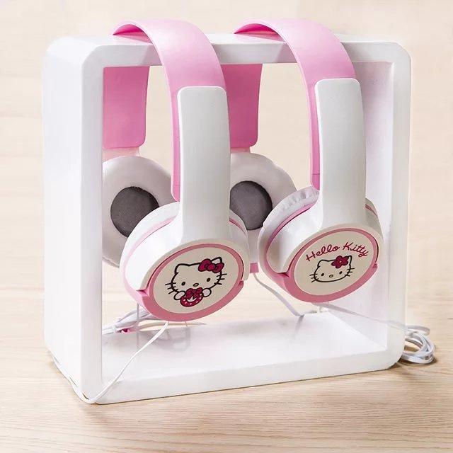 Auriculares estéreo con micrófono de Hello Kitty, diseño bonito de 3,5mm, Mega Bass, auriculares Kawaii, auricular grande