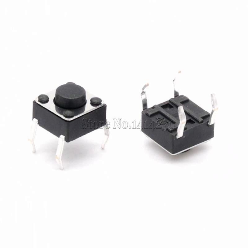 100 Uds 6x6x4,3mm interruptor de botón táctil de 4 pines tacto momentáneo 6*6*4,3mm DIP a través del agujero