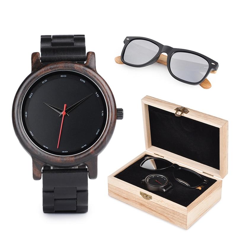 BOBO BIRD Watches Men Wooden Sunglasses Women Ladies in Suit Present Box Gift Box Quartz Wristwatch Male saat erkek Timepieces