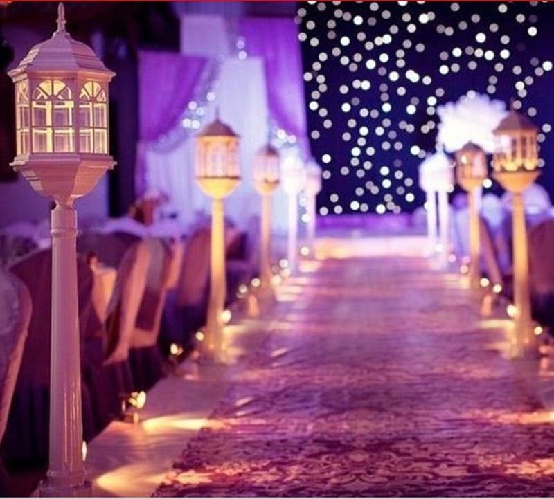 120CM altura blanco metal candelero linterna para Granero boda camino guía boda centro comercial abierto suministros de accesorios