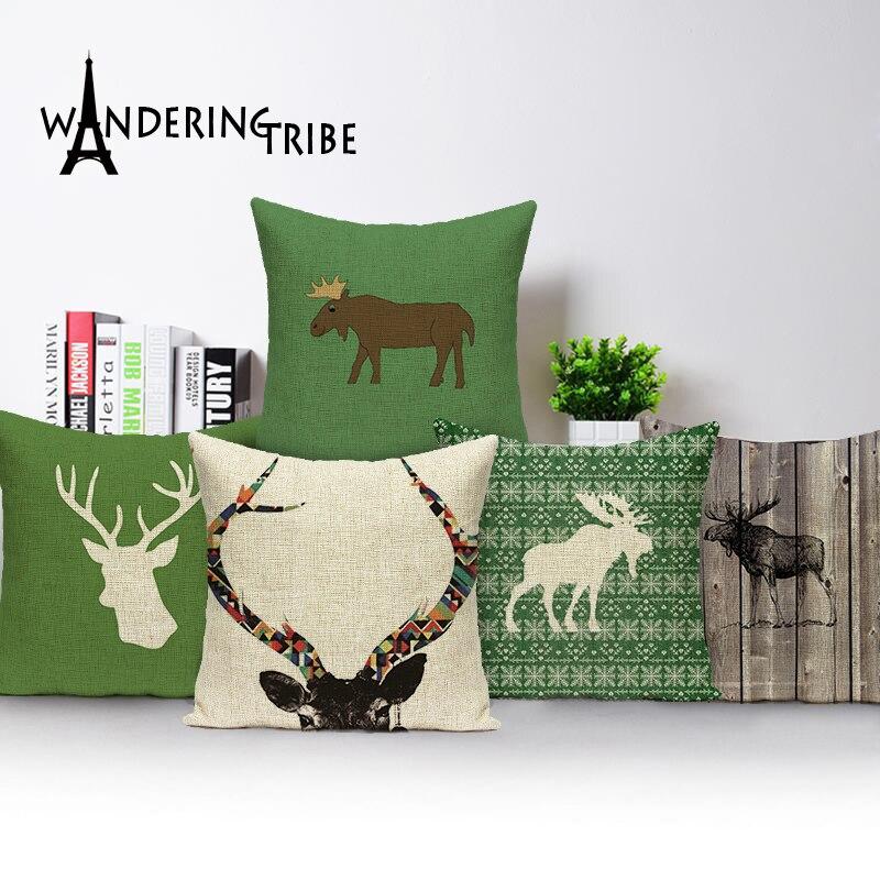 Funda de almohada con dibujo de alces de Navidad, funda de almohada cuadrada de ciervo, sofá cama de lino, funda de almohada con alce, Fundas de cojín, decoración escandinava para sofá