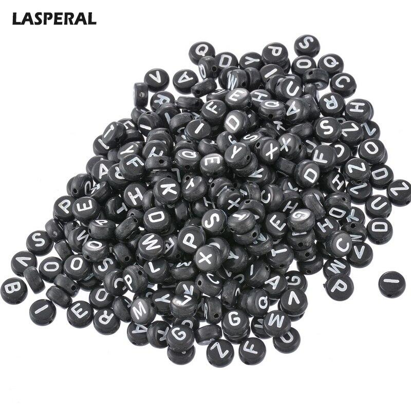 2017 nuevas cuentas de acrílico LASPERAL de 7mm 1000 Uds Alfabeto Negro mezclado al azar/Cuentas espaciadoras Oblato de Cuentas de letras para la fabricación de joyas