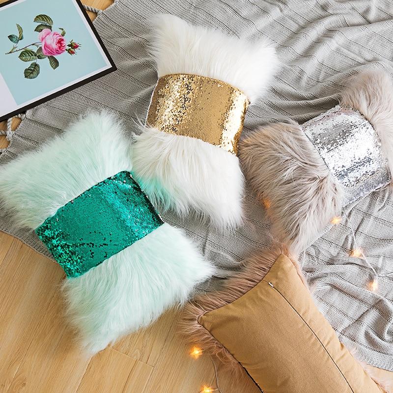 Funda de almohada de piel sintética con lentejuelas blancas, verdes y grises, funda de cojín para decoración del hogar, almohada Lumbar de 30x50 cm, funda de almohada decorativa