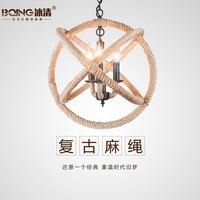 American country  loft Nordic retro pastoral Spherical ball Iron hemp rope pendant light