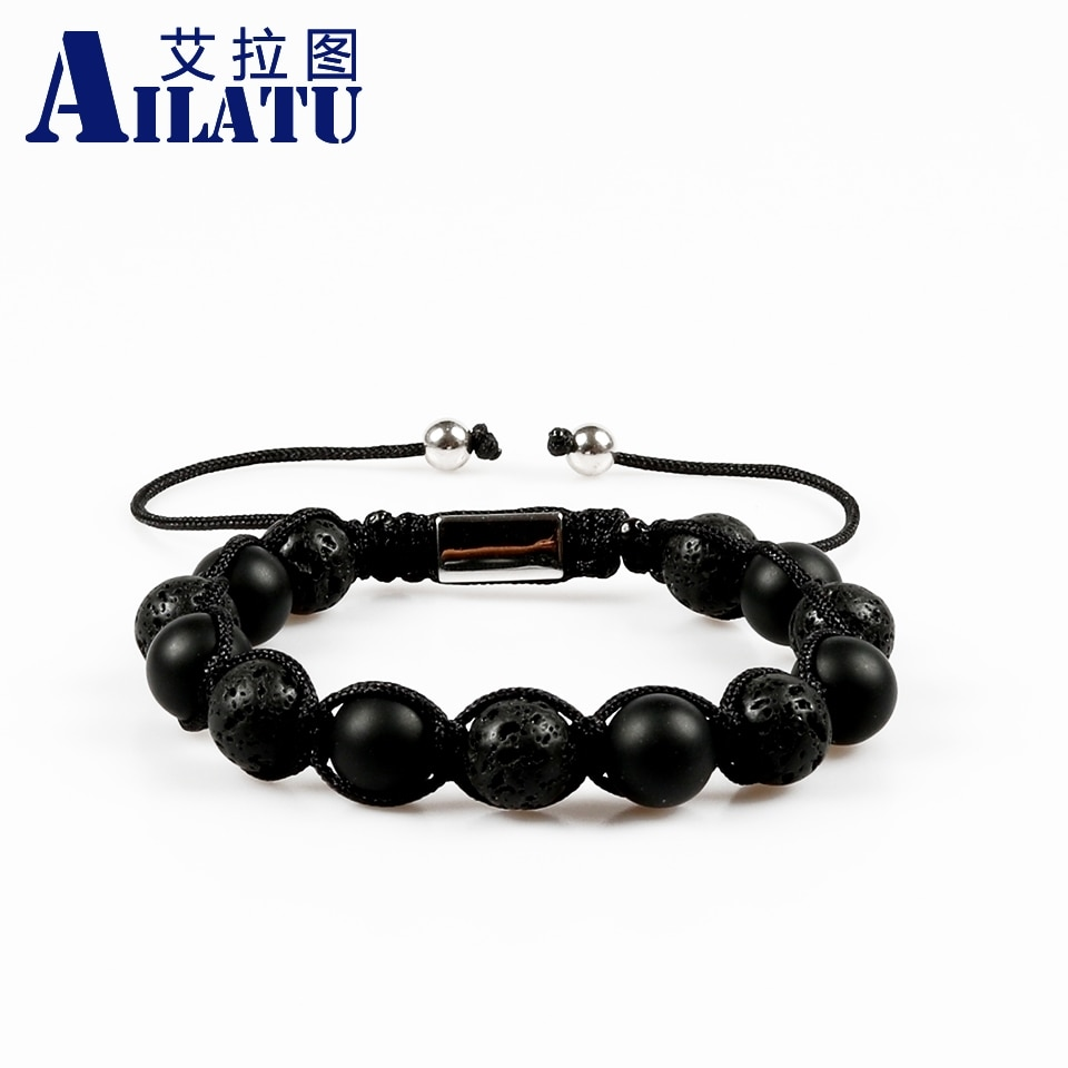 Ailatu мощный 10 мм черный матовый оникс Камень Бисер с Лава камень подходит для мужчин Подарки оплетка макраме браслет