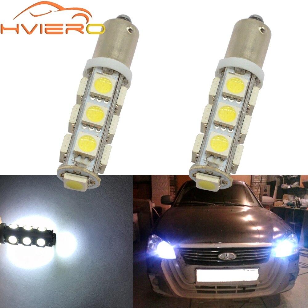 2X T11 Ba9s T4W 5050 13smd blanco Auto coche lámpara de marcador Led matrícula guirnalda de luz Domo puerta bombilla Dc 12v aparcamiento cuña LED